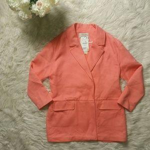 Zara Trafaluc New Salmon Cotton Pea Coat Sz Large